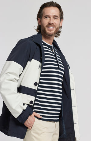 COLOR BLOCK HOODED PARKA - NAVY/WHITE