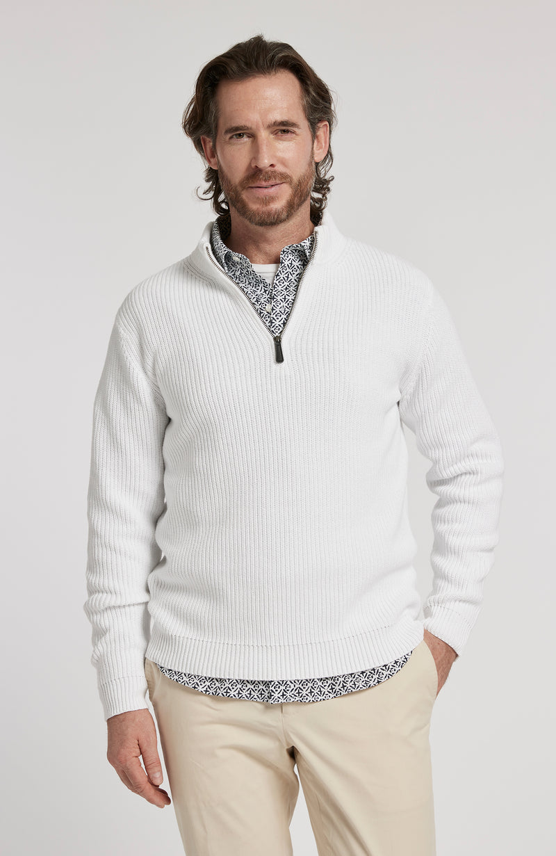 1/4 ZIP MINERAL WASH PULLOVER SWEATER - WHITE