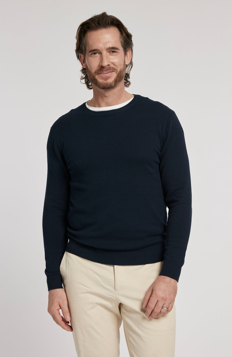 PIMA COTTON LONG SLEEVE CREWNECK SWEATER - AMERICAN NAVY