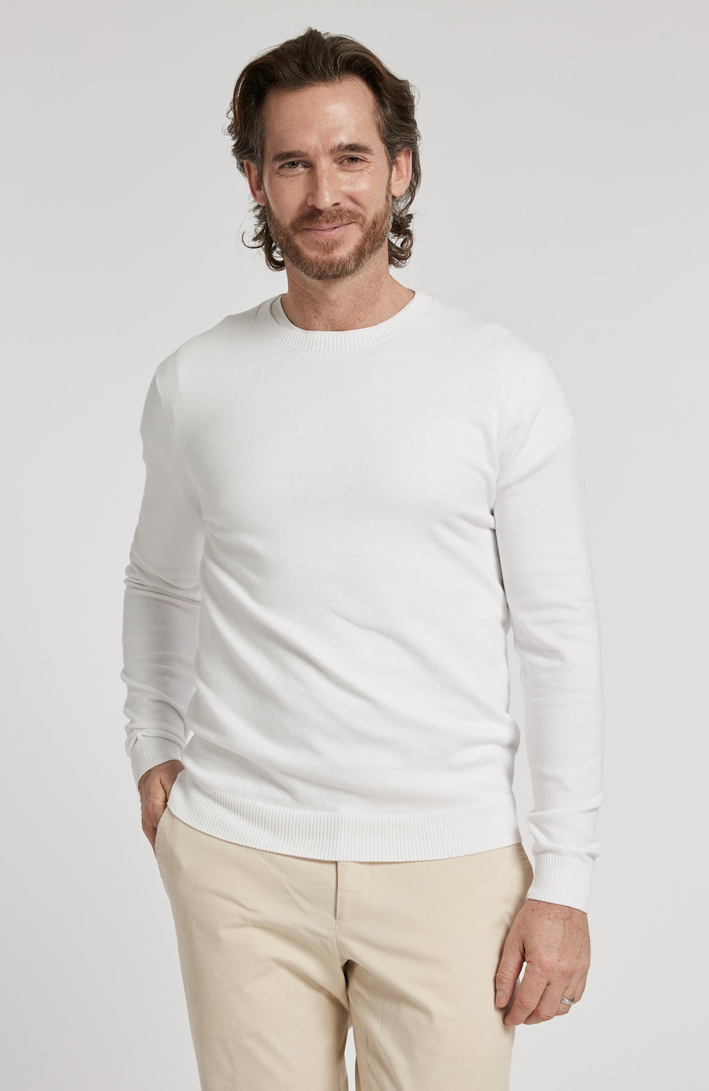 PIMA COTTON LONG SLEEVE CREWNECK SWEATER - WHITE