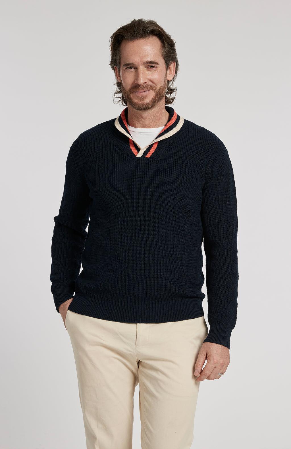 PIMA COTTON SHAWL COLLAR PULLOVER SWEATER - AMERICAN NAVY