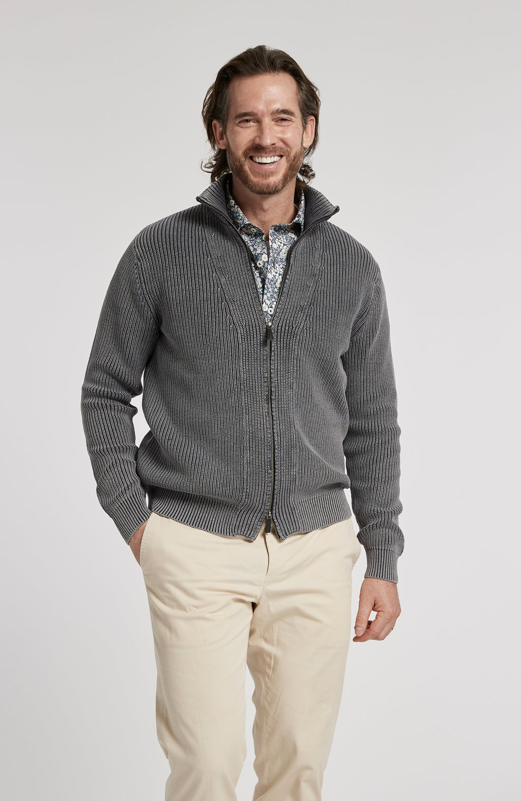 ZIP FRONT MINERAL WASH SWEATER JACKET - AMERICAN NAVY
