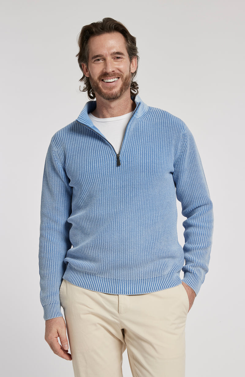 1/4 ZIP MINERAL WASH PULLOVER SWEATER - AZURE