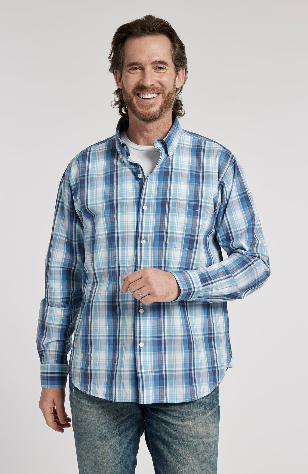 PORTSMOUTH PLAID BUTTON DOWN LONG SLEEVE SHIRT - MULTI BLUE PLAID