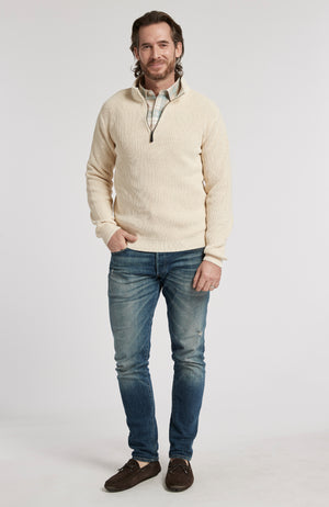 1/4 ZIP MINERAL WASH PULLOVER SWEATER - OATMEAL