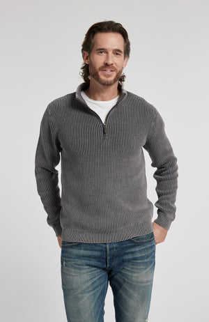 1/4 ZIP MINERAL WASH PULLOVER SWEATER - AMERICAN NAVY
