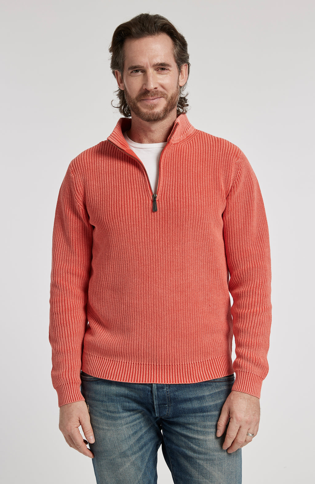 1/4 ZIP MINERAL WASH PULLOVER SWEATER - POPPY