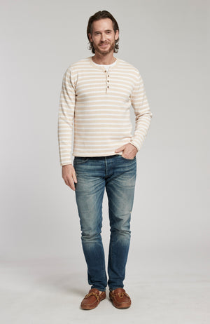 STRIPED PIMA COTTON HENLEY LONG SLEEVE SWEATER - OATMEAL