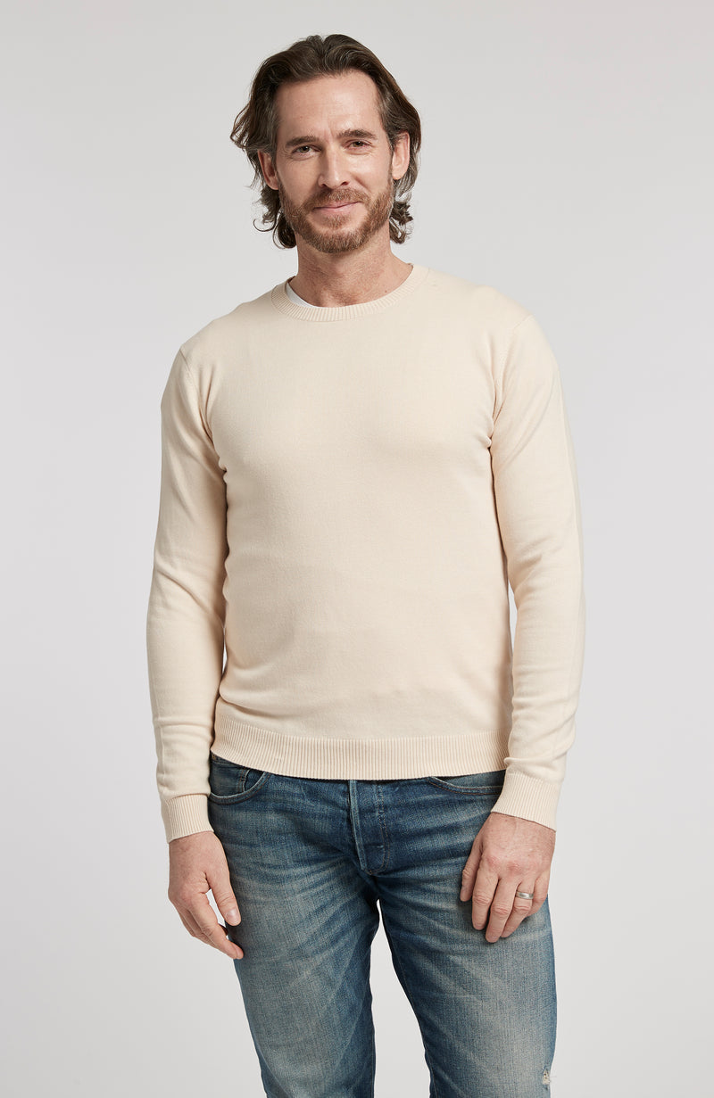 PIMA COTTON LONG SLEEVE CREWNECK SWEATER - OATMEAL