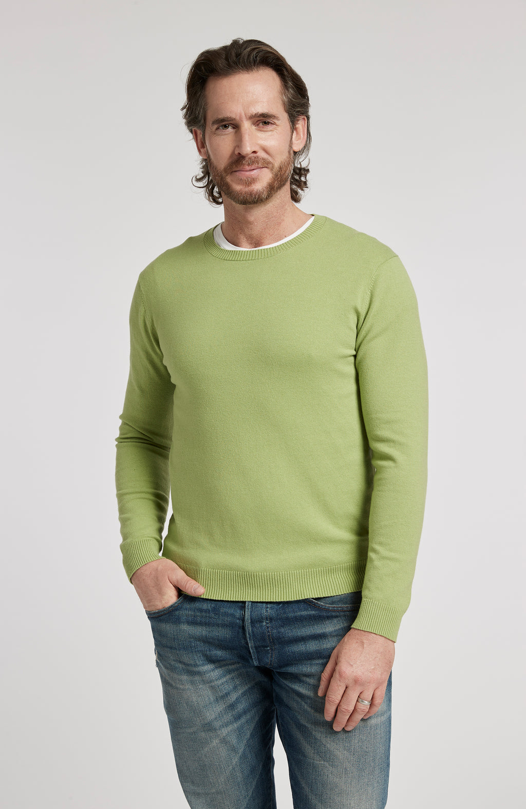 PIMA COTTON LONG SLEEVE CREWNECK SWEATER - LIME GREEN