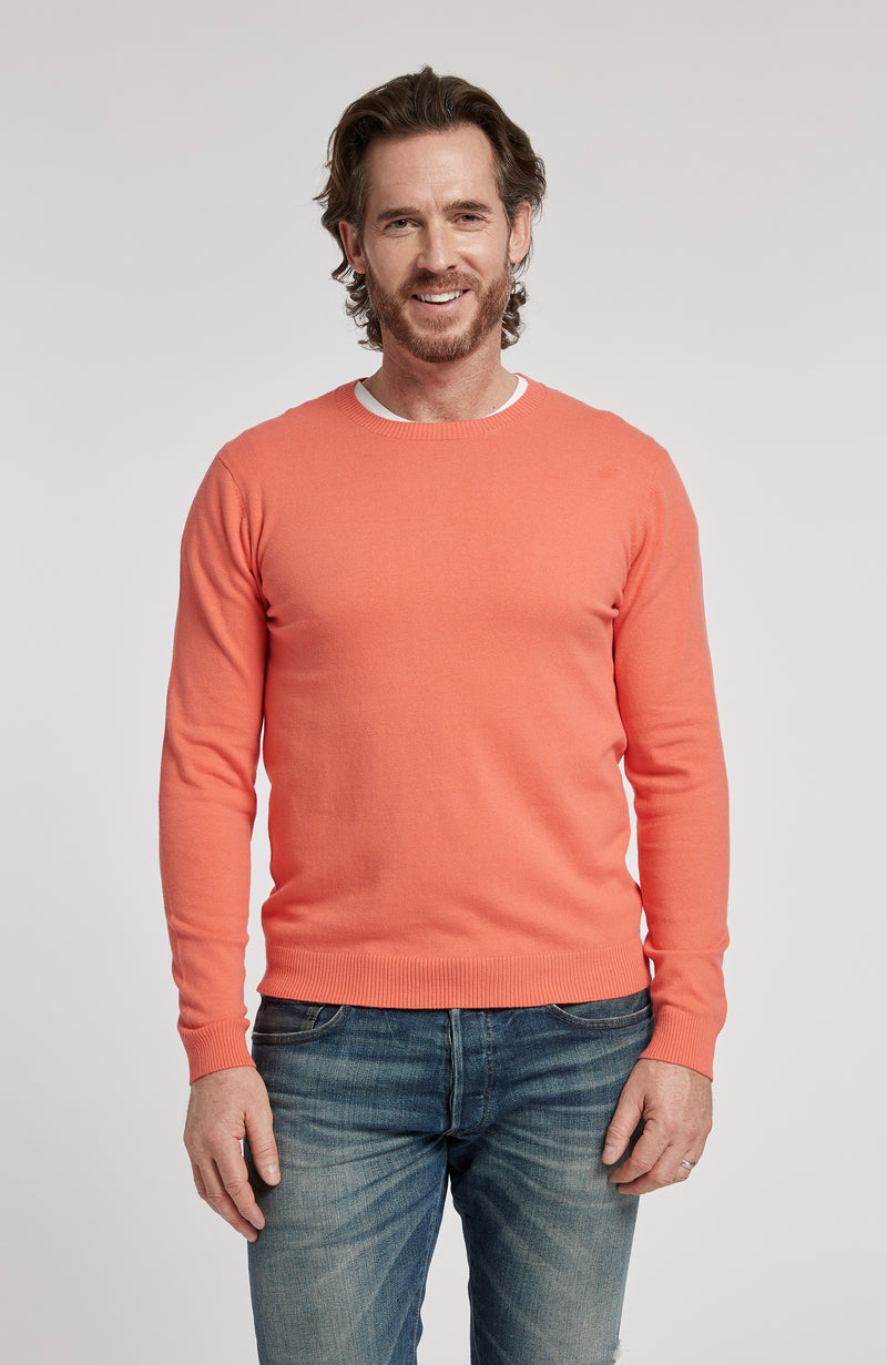 PIMA COTTON LONG SLEEVE CREWNECK SWEATER - POPPY