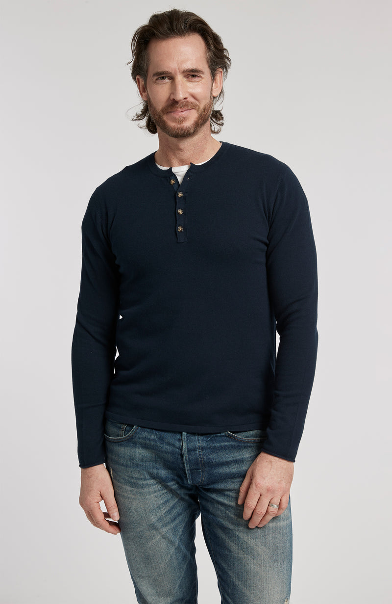 PIMA COTTON HENLEY LONG SLEEVE PULLOVER SWEATER - AMERICAN NAVY