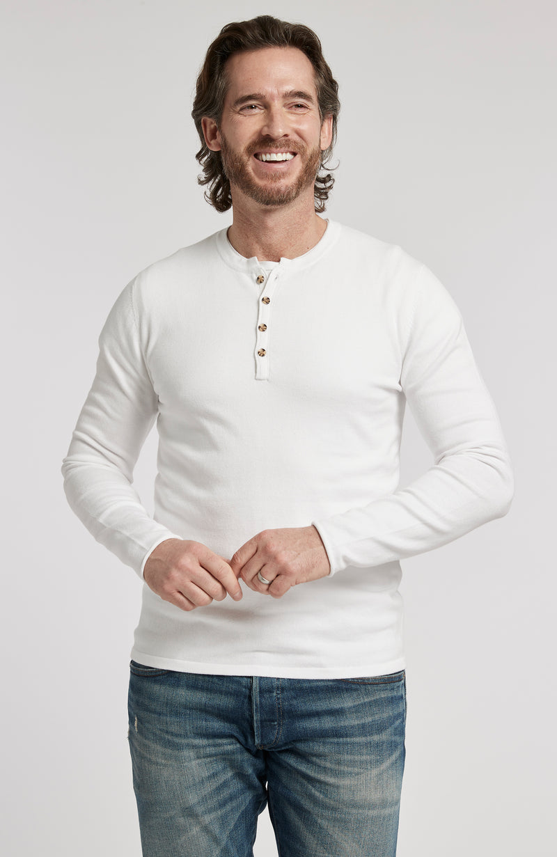 PIMA COTTON HENLEY LONG SLEEVE PULLOVER SWEATER - WHITE