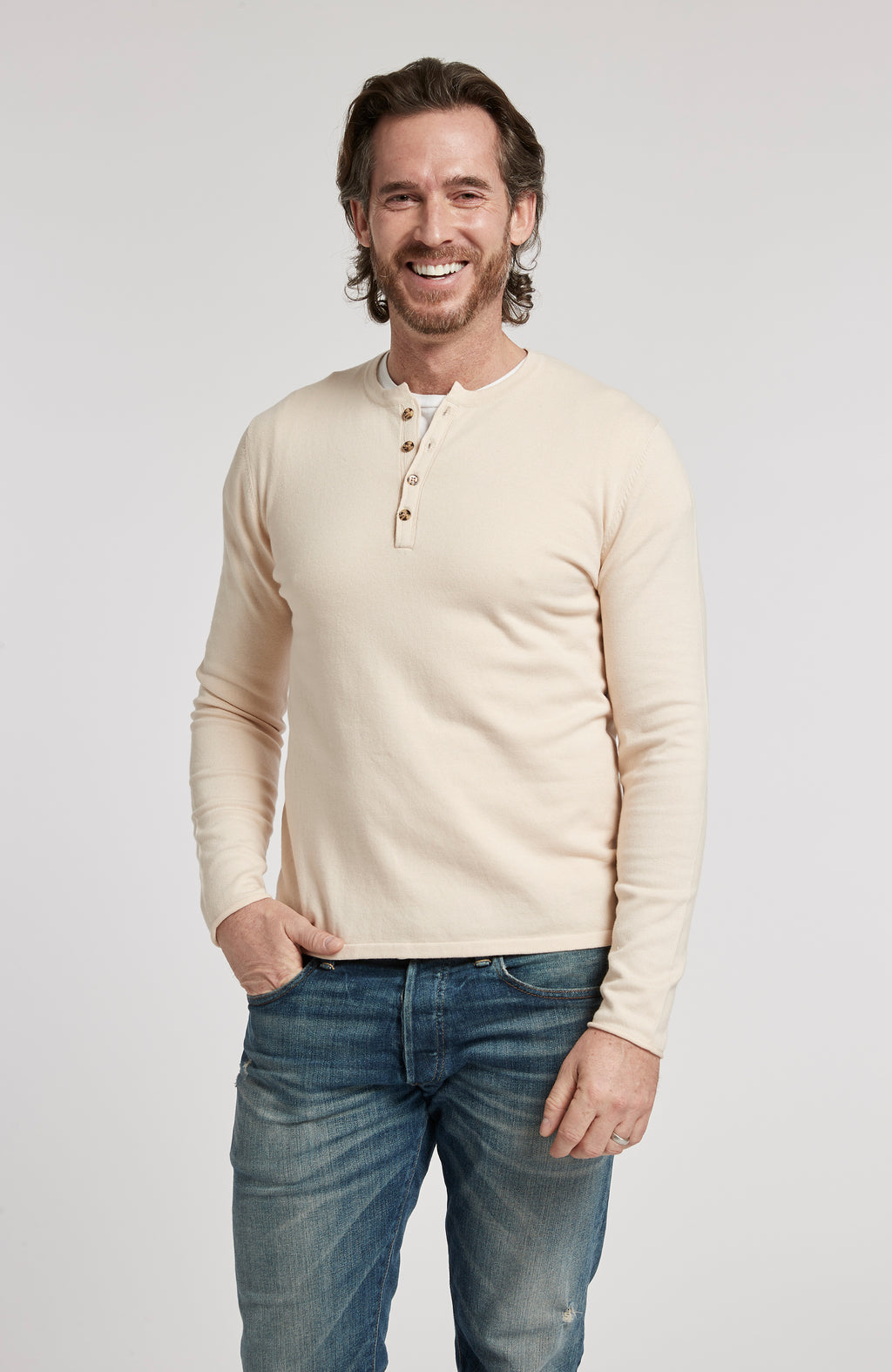PIMA COTTON HENLEY LONG SLEEVE PULLOVER SWEATER - OATMEAL