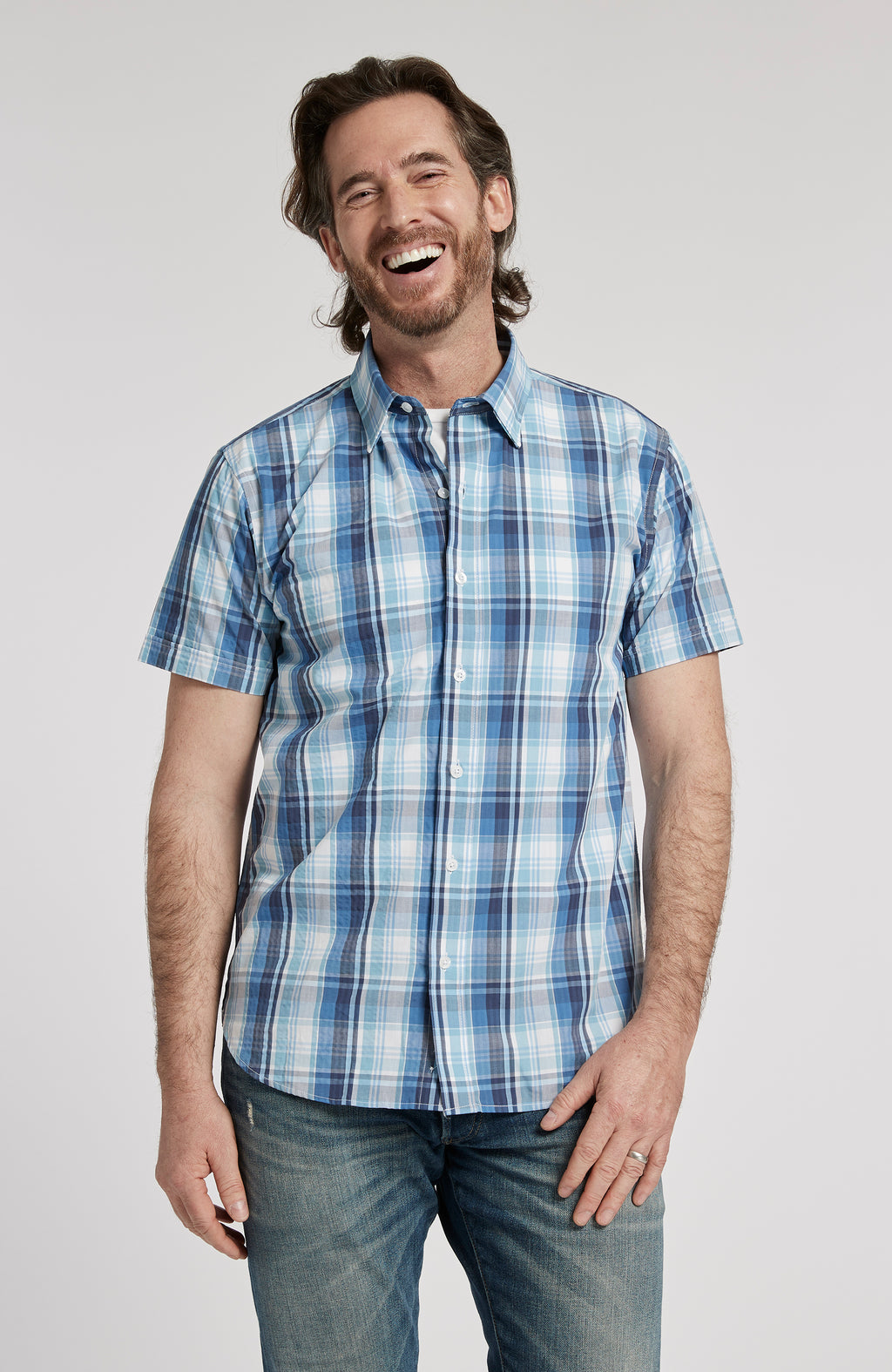 PORTSMOUTH PLAID BUTTON DOWN SHORT SLEEVE SHIRT - MULTI BLUE PLAID