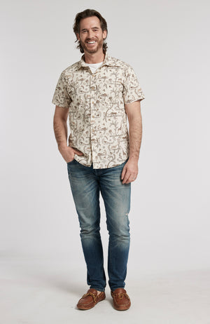 SAFARI PRINT BUTTON DOWN SHORT SLEEVE SHIRT - MULTI SAFARI