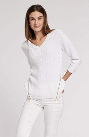 MINERAL WASH SHAKER SWEATER - WHITE