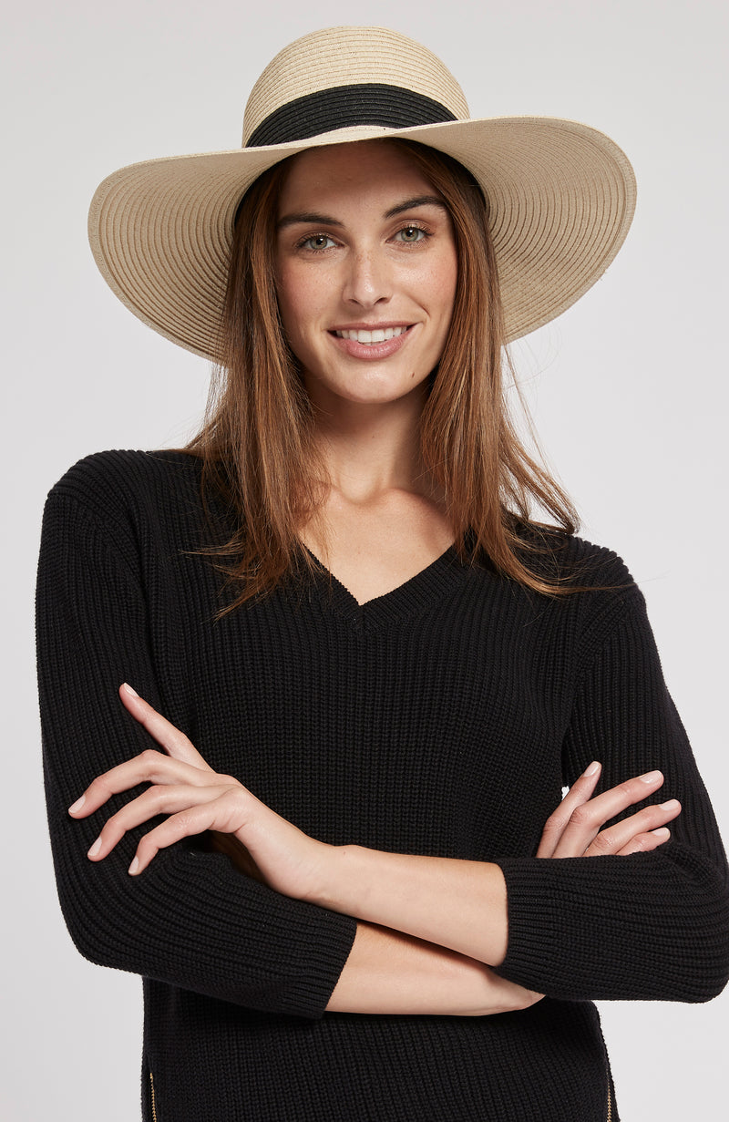 WIDE BRIM SUN HAT - BLACK