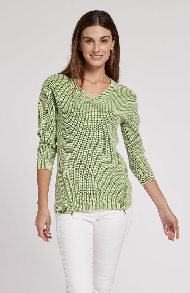 MINERAL WASH SHAKER SWEATER - LIME GREEN TylerBoe XS LIME GREEN