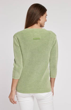 MINERAL WASH SHAKER SWEATER - LIME GREEN TylerBoe