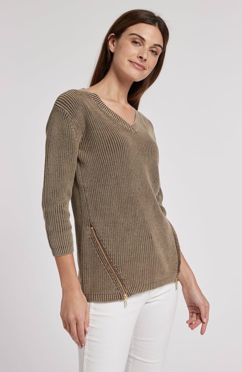 MINERAL WASH SHAKER SWEATER - COFFEE BEAN TylerBoe XS COFFEE BEAN