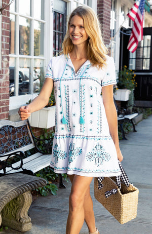 TAYLOR EMBROIDERED DRESS - SEA TURQ