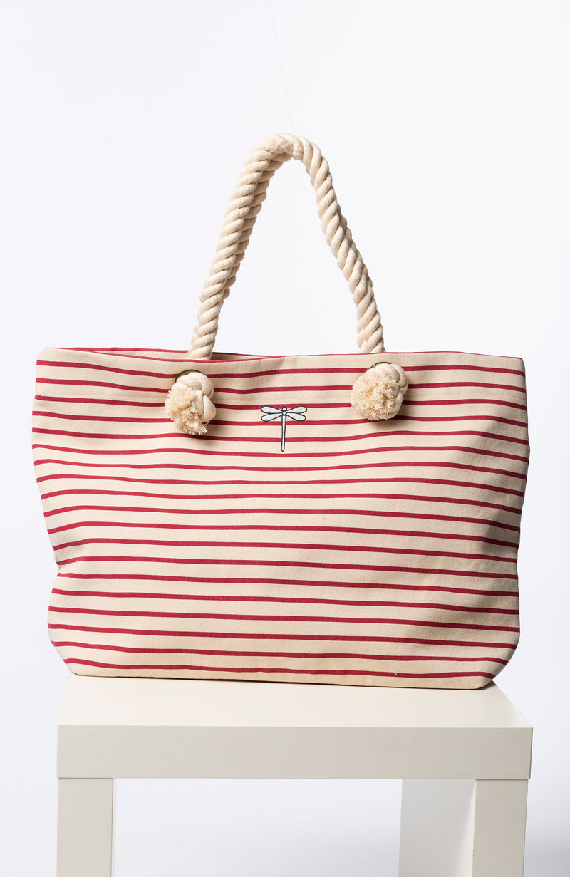 STRIPED BEACH TOTE - BRETON RED