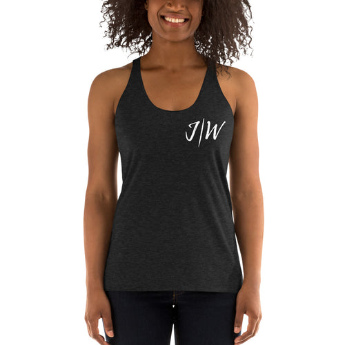 Custom Jon Weberg Women's Racerback Tank Top: Small Logo: NO Quote: All Colors