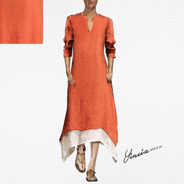 Fashionnia-Cotton/Linen Contrast Color Casual  Maxi Dress With Pocket