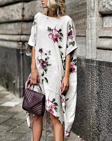 Fashionnia-Printed Round Neck Loose Casual Dress