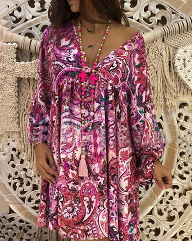 Boho V Neck Printed Colour Pleated Dress