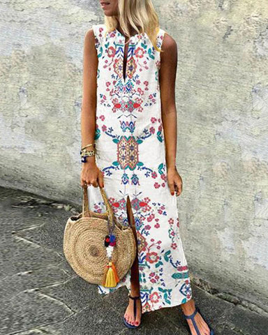 Fashionnia-Cotton/Linen Printed Casual Dress