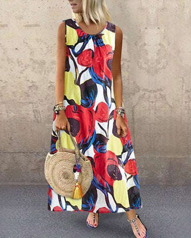 Fashionnia-2019 Summer New Print Small Fresh Big Vest Dress