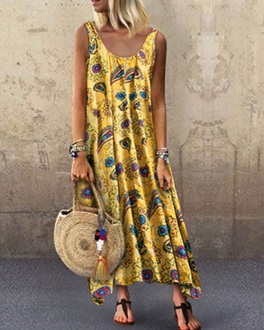 Fashionnia-Printed Sleeveless Loose Round Collar Dress