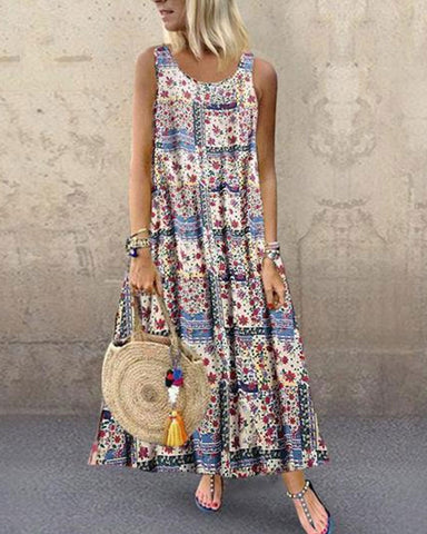 Fashionnia-Bohemian Style Digital Print Long Sleeveless Dress