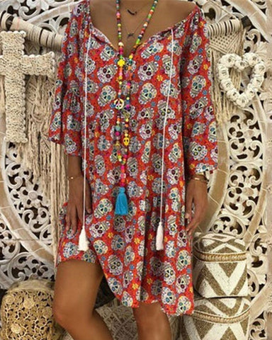 Fashionnia-Summer V Collar Floral Printed Loose Vacation Dress