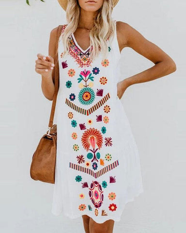 Fashionnia-Sleeveless V-Neck Featuring Ethnic Printed Dress