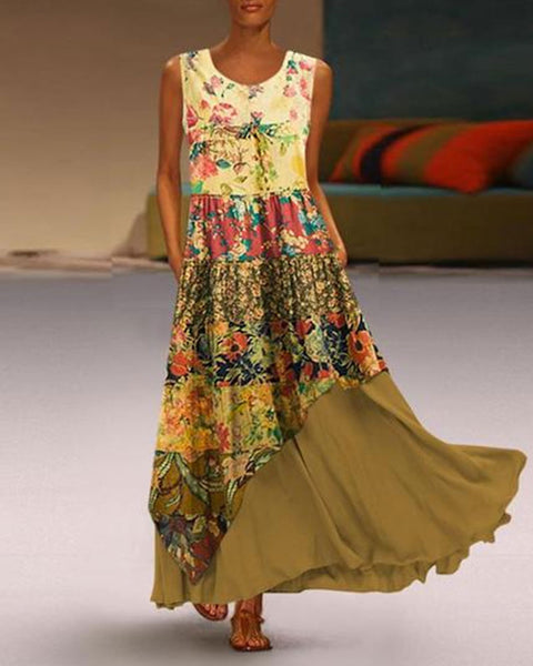Fashionnia-Bohemian Round Neck Sleeveless Pleated Splicing Printed Colour Dress