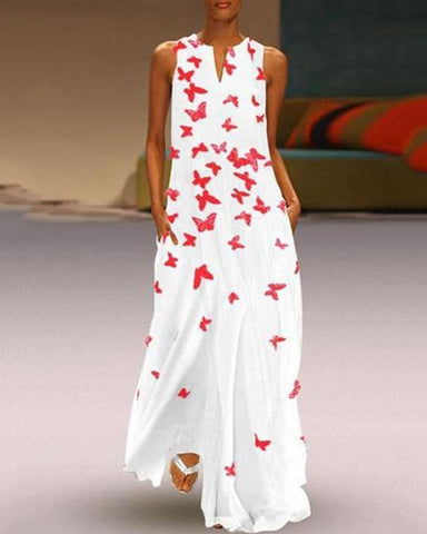 Fashionnia-Chinese Butterfly Printed Maxi Shift Dress