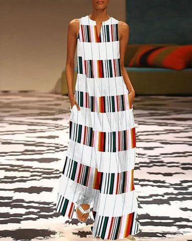Fashionnia-Fashion V Neck Colorful Striped Casual Maxi Shift Dress