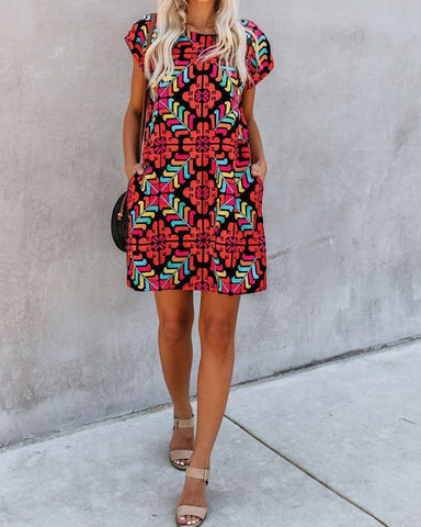 Fashionnia-Short Sleeve Round Neck Print   Holiday Mini Dress