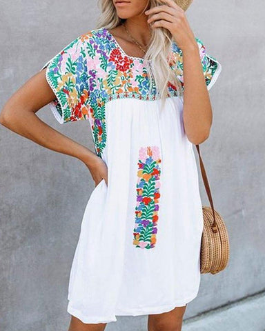 Fashionnia-Fashion Print Short Sleeve Loose Dress