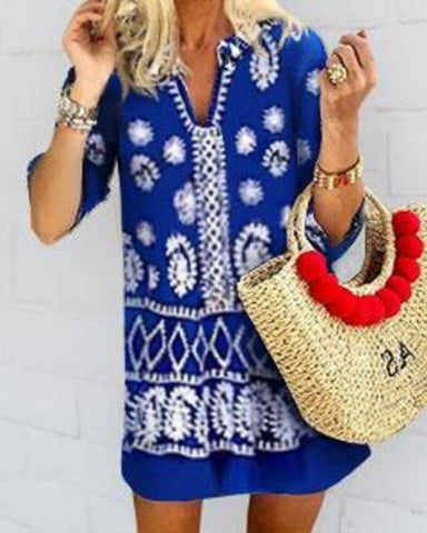 Fashion V-Neck Print Short Sleeve Dress