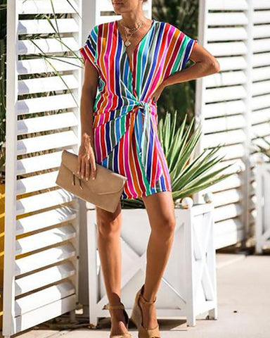 Sexy V Neck Short Sleeve Stripe Belted Dress