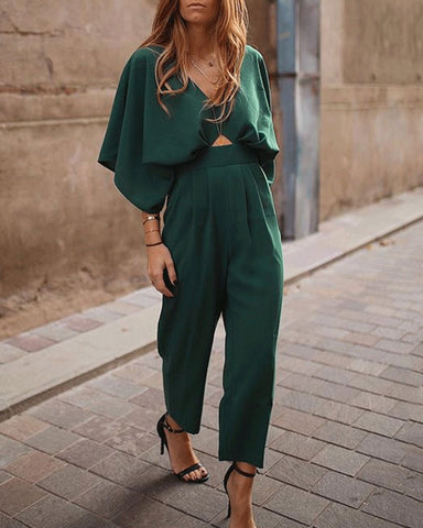 2019 Vintage Fashion Casual Plain Falbala Jumpsuit