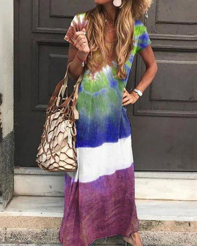 Bohemian Printed Colour Round Neck Short Sleeve Loose Casual Maxi Dress