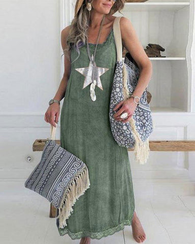 Women's Sleeveless Lace Panel Star Print Casual Maxi Dress