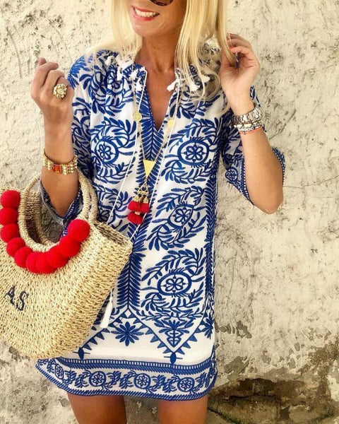 Fashionnia-Bohemian Vintage Printed Summer Loose Shift Beach Mini Dress