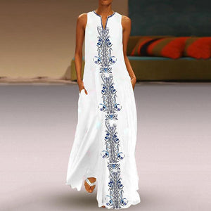 Fashionnia-Elegant V Neck Sleeveless Inwrought Jumper Casual Maxi Dress