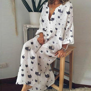 Summer Print Long Sleeve V-Neck Wide Leg Pants
